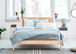 The Allswell Luxe hybrid mattress in a nice room
