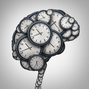Image: a brain made up of ticking clocks