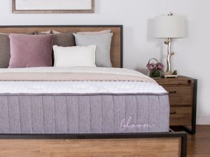 The Brooklyn Bedding Bloom Hybrid Mattress in a nicely decorated room