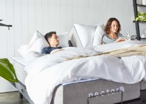 Image: couple relaxing on a Nectar adjustable bed
