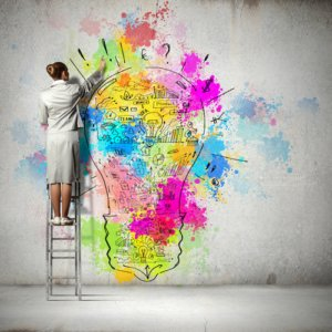 Image: woman drawing creatively