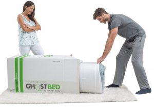 opening of the ghostbed luxe mattress shipping box