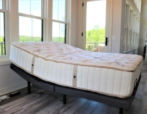 the idle sleep latex hybrid mattress in a ramped position