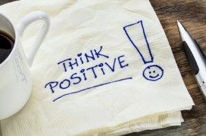 napkin with the words think positive
