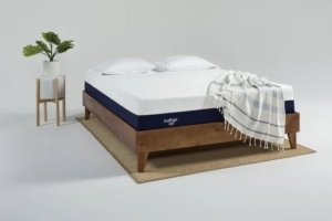 the indigo mattress in a staged room