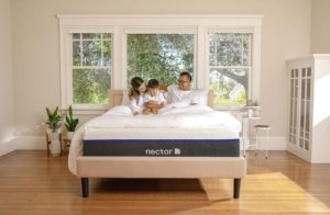 A happy family on the mattress