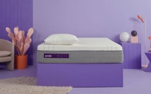 View of the Purple Hybrid Premier Mattress with no sheets
