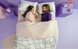 View of the Purple Hybrid Premier Mattress with people on it