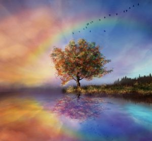 Image: a tree with a rainbow is growing in the valley of your dreams