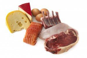 Sources of protein, including cheese, eggs, fish, lamb, chicken and beef. Isolated on white. More health and nutrition images: