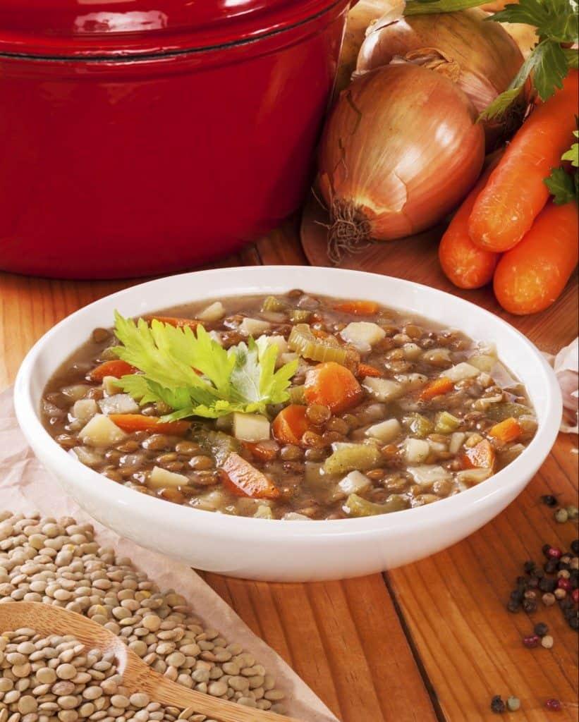 immune boosting, lentil, lentil soup, vegetables, flu season