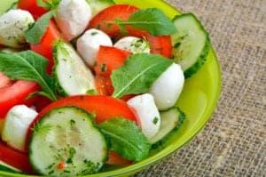 MTC Salad — Mozzarella, Tomato, Cucumber