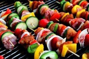 shish kabobs, veggies, summer meal, healthy meal