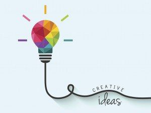 Colorful polygon, geometric lightbulb design with wire as creative thinking and idea concept.