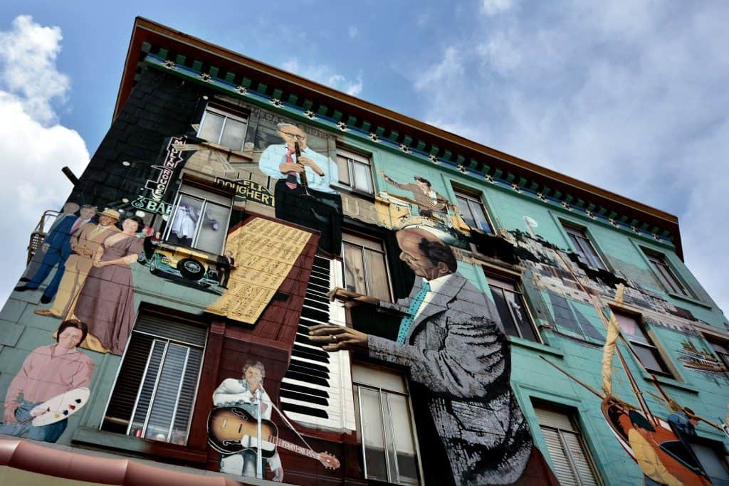 San Francisco, California, USA - May 18, 2015: Mural wall paint on a building. San Francisco is a virtual outdoor art gallery where city walls become the artist's canvas and the unremarkable become works of art.