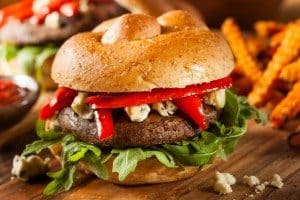 mushrooms, veggie burger, mushroom month