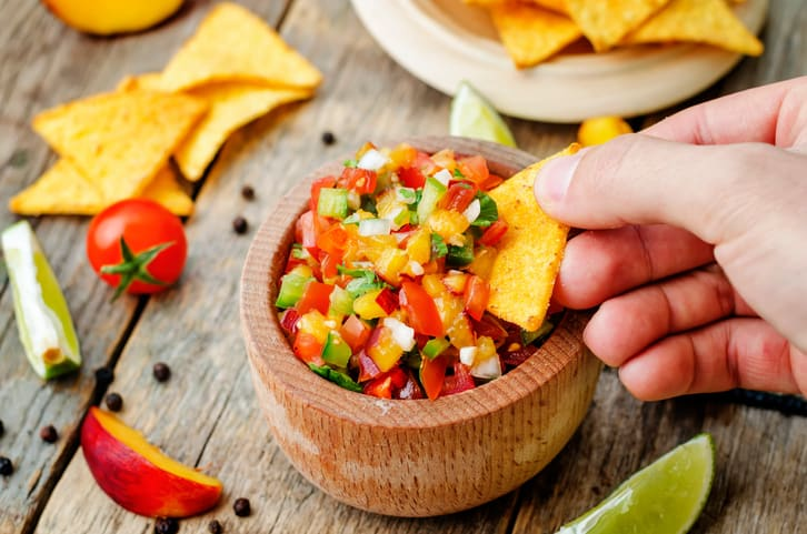 peach salsa recipe, peach and avocado salsa, peach salsa, peach nutrition facts
