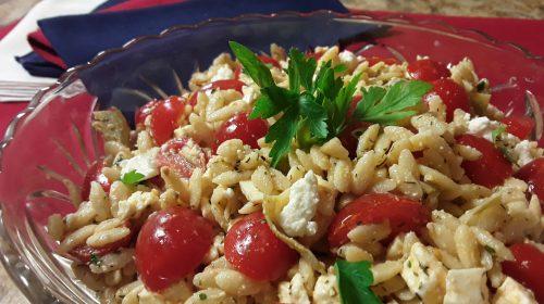 Orzo, Tomato, Artichoke and Feta Salad