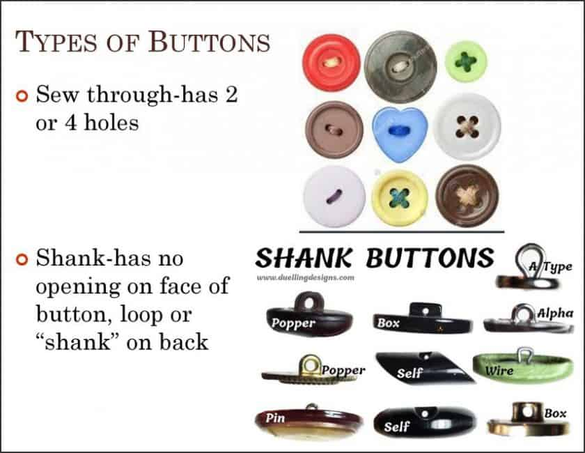 How to Sew a Button - Types of Buttons