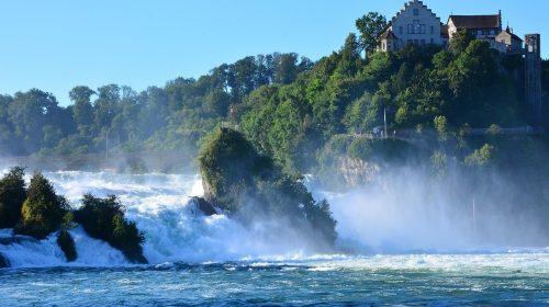 Scenic Rhine Falls in the Swiss Alps