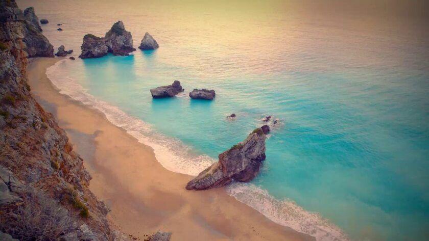 Calming Ocean Waves on Quiet Beach