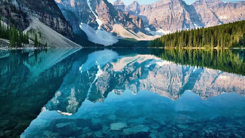 Crystal Clear Tranquil Mountain Lake