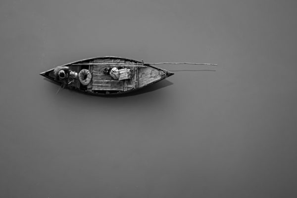Fishing - Limited Edition Black and White Intimate Rural Photography Artwork on Canvas Matte Paper by Minhajul Haque