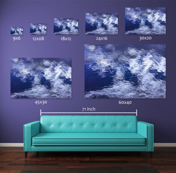 Comparing different print sizes of the photograph Mosaicked Ripples. The wall art prints are displayed above a standard 71-inch long couch. Smaller size 12x08-inch and 18x12-inch pigment prints are available for sale in open edition where the medium and large size prints i.e., 30x20-inch, 45x30-inch, and 60x40-inch pigment prints are available in numbered limited editions as described in the table below.