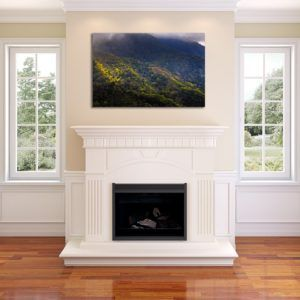 Glowing Mountain Forest - Limited Edition Artwork by Minhajul Haque. A Photography Print Made with Love and Passion to Make You Feel Special and Serene. Here in This Image, It Is an Interior Scene with the Wall Art Print. Buy Limited Edition Pigment Prints of Artistic Nature and Landscape Photos for Your Home and Office Interiors. Bedroom Wall Art, Dining Room Wall Art, Living Room Wall Art, Kitchen Wall Art, Bathroom Wall Art, Kid's Room Wall Art, Office Wall Art, and Sitting Room Wall Art for Sale Online in India