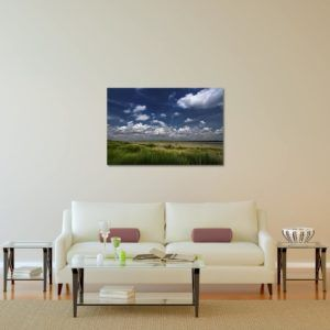 Cloudy Grassland - Limited Edition Artwork by Minhajul Haque. A Photography Print Made with Love and Passion to Make You Feel Special and Serene. Here in This Image, It Is an Interior Scene with the Wall Art Print. Buy Limited Edition Pigment Prints of Artistic Nature and Landscape Photos for Your Home and Office Interiors. Bedroom Wall Art, Dining Room Wall Art, Living Room Wall Art, Kitchen Wall Art, Bathroom Wall Art, Kid's Room Wall Art, Office Wall Art, and Sitting Room Wall Art for Sale Online in India