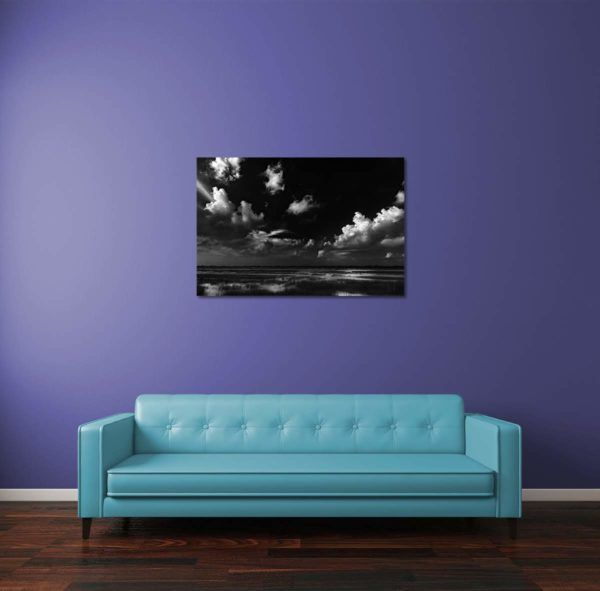 Greeted by Clouds - Limited Edition Artwork by Minhajul Haque. A Photography Print Made with Love and Passion to Make You Feel Special and Serene. Here in This Image, It Is an Interior Scene with the Wall Art Print. Buy Limited Edition Pigment Prints of Artistic Nature and Landscape Photos for Your Home and Office Interiors. Bedroom Wall Art, Dining Room Wall Art, Living Room Wall Art, Kitchen Wall Art, Bathroom Wall Art, Kid's Room Wall Art, Office Wall Art, and Sitting Room Wall Art for Sale Online in India