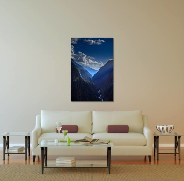 Sunlit Cliffs - Limited Edition Artwork by Minhajul Haque. A Photography Print Made with Love and Passion to Make You Feel Special and Serene. Here in This Image, It Is an Interior Scene with the Wall Art Print. Buy Limited Edition Pigment Prints of Artistic Nature and Landscape Photos for Your Home and Office Interiors. Bedroom Wall Art, Dining Room Wall Art, Living Room Wall Art, Kitchen Wall Art, Bathroom Wall Art, Kid's Room Wall Art, Office Wall Art, and Sitting Room Wall Art for Sale Online in India