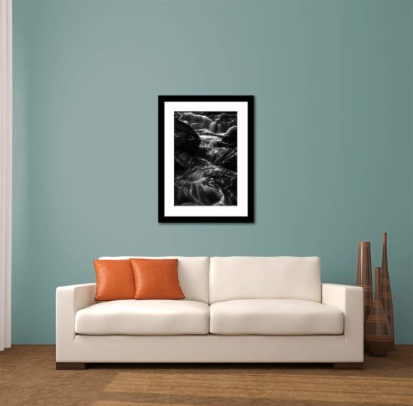 Running Stream - Limited Edition Artwork by Minhajul Haque. A Photography Print Made with Love and Passion to Make You Feel Special and Serene. Here in This Image, It Is an Interior Scene with the Wall Art Print. Buy Limited Edition Pigment Prints of Artistic Nature and Landscape Photos for Your Home and Office Interiors. Bedroom Wall Art, Dining Room Wall Art, Living Room Wall Art, Kitchen Wall Art, Bathroom Wall Art, Kid's Room Wall Art, Office Wall Art, and Sitting Room Wall Art for Sale Online in India