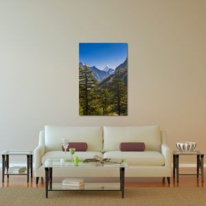 Glimpse of Bhagirathi - Limited Edition Artwork by Minhajul Haque. A Photography Print Made with Love and Passion to Make You Feel Special and Serene. Here in This Image, It Is an Interior Scene with the Wall Art Print. Buy Limited Edition Pigment Prints of Artistic Nature and Landscape Photos for Your Home and Office Interiors. Bedroom Wall Art, Dining Room Wall Art, Living Room Wall Art, Kitchen Wall Art, Bathroom Wall Art, Kid's Room Wall Art, Office Wall Art, and Sitting Room Wall Art for Sale Online in India