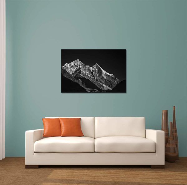 Snowy Bhagirathi - Limited Edition Artwork by Minhajul Haque. A Photography Print Made with Love and Passion to Make You Feel Special and Serene. Here in This Image, It Is an Interior Scene with the Wall Art Print. Buy Limited Edition Pigment Prints of Artistic Nature and Landscape Photos for Your Home and Office Interiors. Bedroom Wall Art, Dining Room Wall Art, Living Room Wall Art, Kitchen Wall Art, Bathroom Wall Art, Kid's Room Wall Art, Office Wall Art, and Sitting Room Wall Art for Sale Online in India