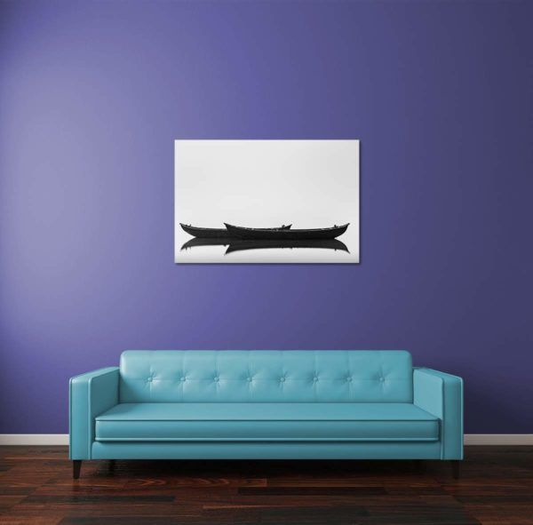 Black Boats - Limited Edition Artwork by Minhajul Haque. A Photography Print Made with Love and Passion to Make You Feel Special and Serene. Here in This Image, It Is an Interior Scene with the Wall Art Print. Buy Limited Edition Pigment Prints of Artistic Nature and Landscape Photos for Your Home and Office Interiors. Bedroom Wall Art, Dining Room Wall Art, Living Room Wall Art, Kitchen Wall Art, Bathroom Wall Art, Kid's Room Wall Art, Office Wall Art, and Sitting Room Wall Art for Sale Online in India