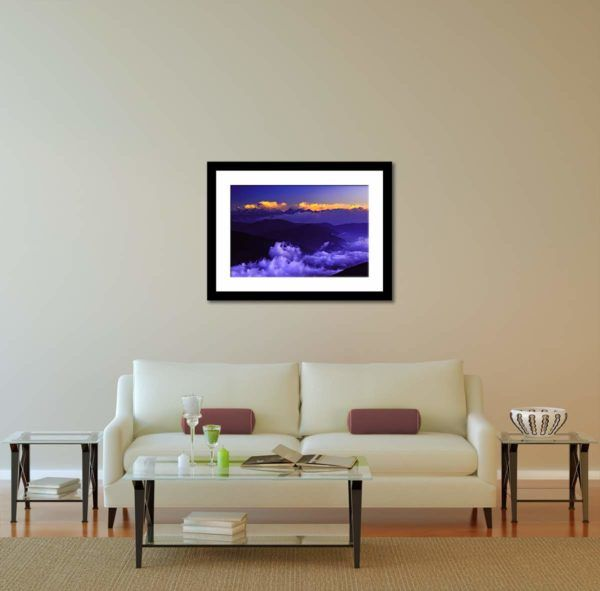 Cloudy Kanchenjunga - Limited Edition Artwork by Minhajul Haque. A Photography Print Made with Love and Passion to Make You Feel Special and Serene. Here in This Image, It Is an Interior Scene with the Wall Art Print. Buy Limited Edition Pigment Prints of Artistic Nature and Landscape Photos for Your Home and Office Interiors. Bedroom Wall Art, Dining Room Wall Art, Living Room Wall Art, Kitchen Wall Art, Bathroom Wall Art, Kid's Room Wall Art, Office Wall Art, and Sitting Room Wall Art for Sale Online in India