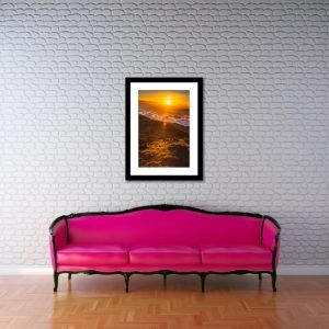 Wall Art Print Display─Inside a Room with a Couch─of the Photograph Warming Sunrise by Fine Art Nature and Landscape Photographer Minhajul Haque
