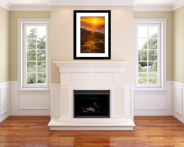 Wall Art Print Display─Inside a Room with a Fireplace─of the Photograph Warming Sunrise by Fine Art Nature and Landscape Photographer Minhajul Haque