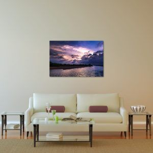 Wall Art Print Display─Inside a Room with a Couch─of the Photograph Dusky Damodar Valley by Fine Art Nature and Landscape Photographer Minhajul Haque