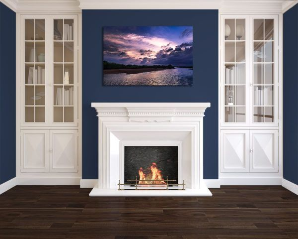 Wall Art Print Display─Inside a Room with a Fireplace─of the Photograph Dusky Damodar Valley by Fine Art Nature and Landscape Photographer Minhajul Haque