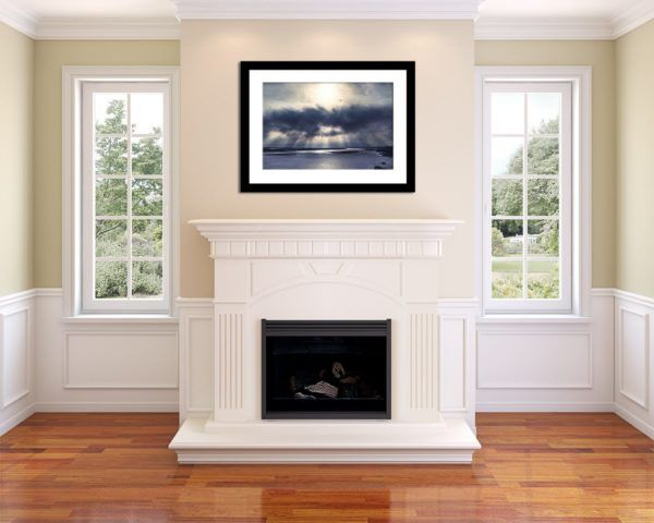 Wall Art Print Display─Inside a Room with a Fireplace─of the Photograph River Rays by Fine Art Nature and Landscape Photographer Minhajul Haque