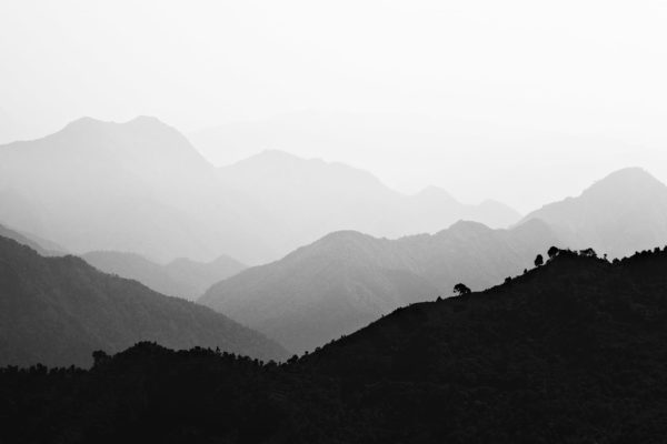 Misty Hills - Abstract Black and White Landscape Photograph in Limited Edition Pigment Prints Canvas Matte Paper by Minhajul Haque for Sale India