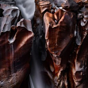Moonlit Canyon Waterfall - Intimate Landscape Photograph in Museum-Quality Limited Edition Prints on Canvas and Matte Paper by Minhajul Haque