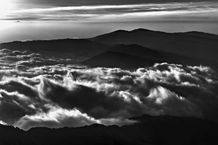 Mountains in Delicate Cloud – Dark and Moody Black and White Landscape Photograph in Limited Edition Prints (Canvas/Matte Paper)