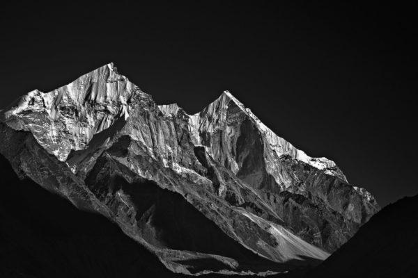Snowy Bhagirathi Peaks - Black and White Fine Art Landscape in Limited Edition Pigment Prints on Canvas and Matte Paper by Minhajul Haque