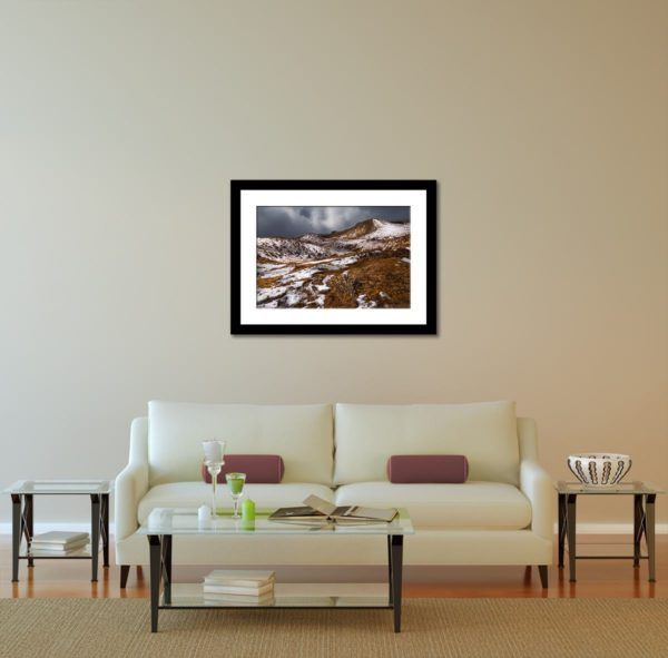 Wall Art Print Display─Inside a Room with a Couch─of the Photograph Tumling from Tonglu by Fine Art Nature and Landscape Photographer Minhajul Haque