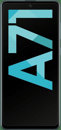 Samsung Galaxy A71 Frontalansicht prism crush blue big