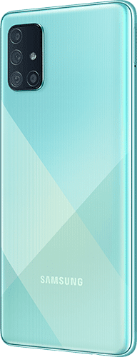 Samsung Galaxy A71 Frontalansicht prism crush blue big