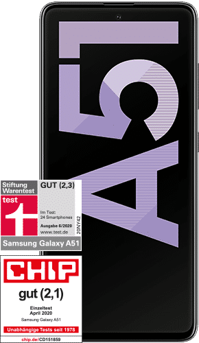 Samsung Galaxy A51 Frontalansicht prism crush black big